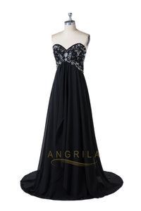 Black Sweetheart Strapless Beading Formal Dresses