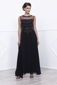 Long Black Applique Mother Dress