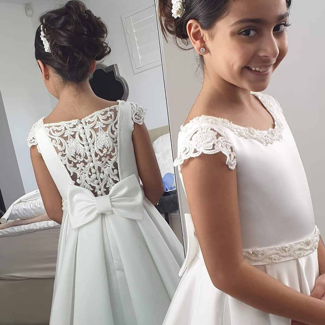 Princess Satin Tea Length Flower Girl Dress With Back Lace design