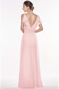 V-Neck Spaghetti Straps Chiffon Bridesmaid Dress Long Formal Evening Gown