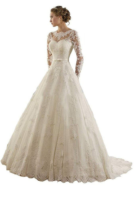 Lace Applique Long Sleeves Chapel Wedding Dress