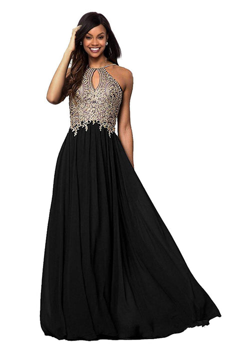 Halter Gold Applique Prom Dresses Evening Formal Gowns
