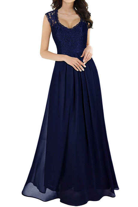 Sleeveless Vintage Scoop Neck Bridesmaid Dresses