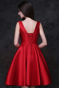 A-Line Knee-Length Satin Homecoming Dress