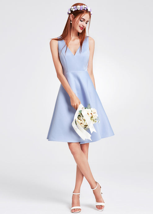 Blue V-neck Bridesmaid Dress