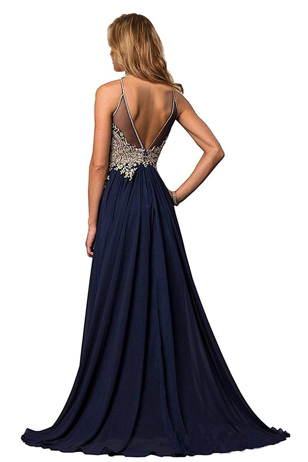 Halter Gold Applique Prom Dresses Evening Formal Gowns – Angrila