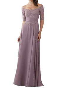 Mother of The Bride Gowns with Sleeves Lace Long Chiffon Beaded