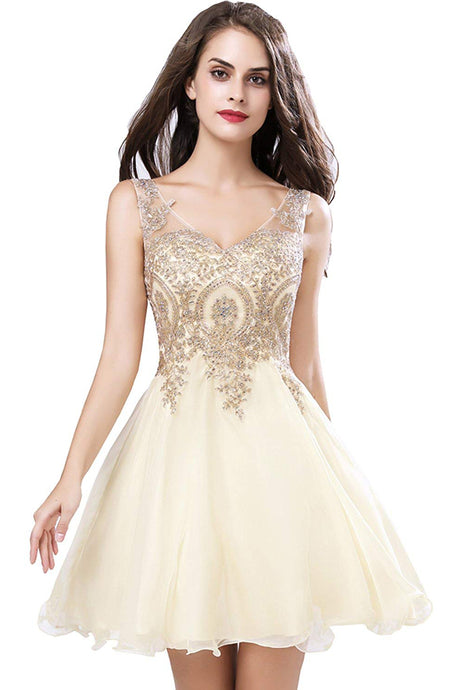 Short Homecoming Prom Dresses with Beaded