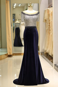 Elegant Beaded Formal Evening Dresses with Short Sleeves