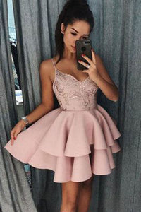 Short Spaghetti Straps V-Neck Homecoming Dress