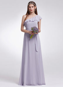 One-shoulder Lilac Bridesmaid Dress