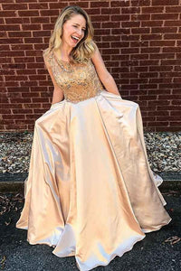 Gorgeous A-Line Scoop Satin Prom Dresses with Beading