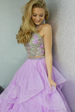 Two Piece Beaded Halter Lilac Organza Ruffle Evening Gowns