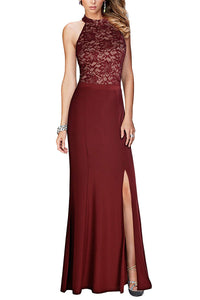 Halter Floral Lace Vintage Prom Dress Evening Gown