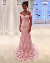 A-line/Princess Off-the-Shoulder Sweep Train Lace Prom Dresses