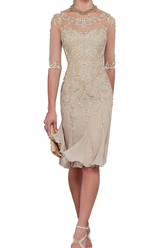Half Sleeves Chiffon Lace Mother of the Bride Dresses