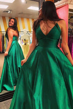 V-neck Satin Sweep Train Pockets Prom Dresses