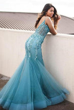 Sexy Mermaid Spaghetti Straps Turquoise Prom Dresses with Appliques Sequins