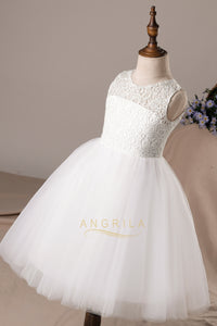 A-line/Princess Tulle & Lace Flower Girl Dresses with Bows