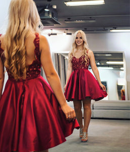 A-Line V-neck Short/Mini Satin Low Back Homecoming Dress With Beading Sequins