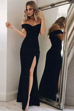Sheath/Column Off-the-Shoulder Split Front Prom Dresses