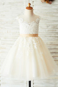 A-Line/Princess Knee-length Flower Girl Dress Sleeveless Scoop Neck With Appliques
