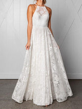 A-Line Halter Floor-Length Lace Backless Wedding Dress