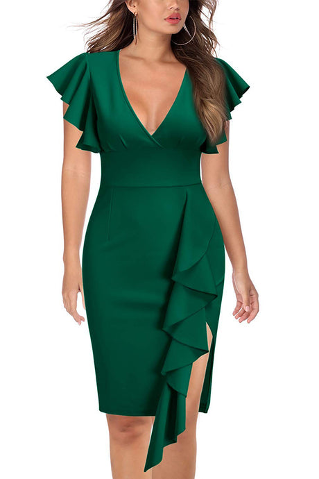 Trumpet/Mermaid  Asymmetrical Satin V-neck Women's Dresses