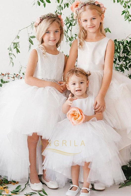 Bateau Sleeveless Asymmetrical Flower Girl Dresses