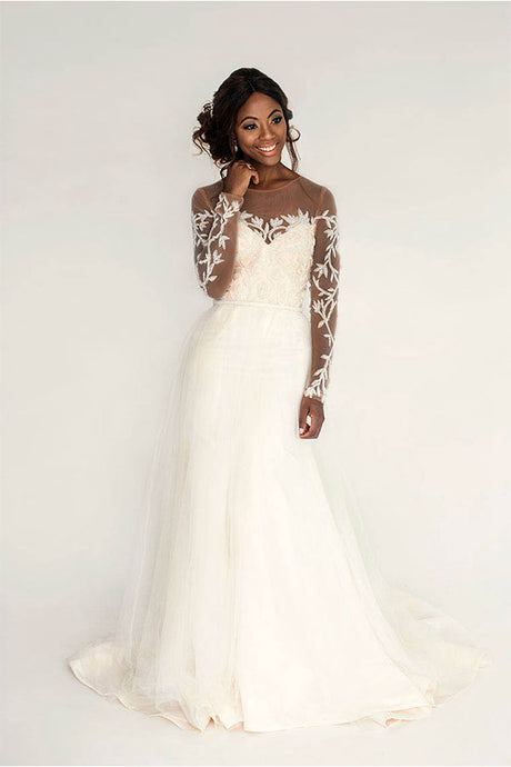 A-Line Long Sleeves V-Neck Wedding Dresses