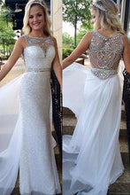 Sheath/Column Sleeveless Beading Sequined Long Prom Dresses