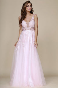 A-Line V-Neck Tulle & Lace Long Formal Prom Dresses
