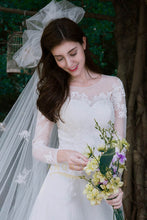 A-Line Long Sleeves Lace Applique Wedding Dresses