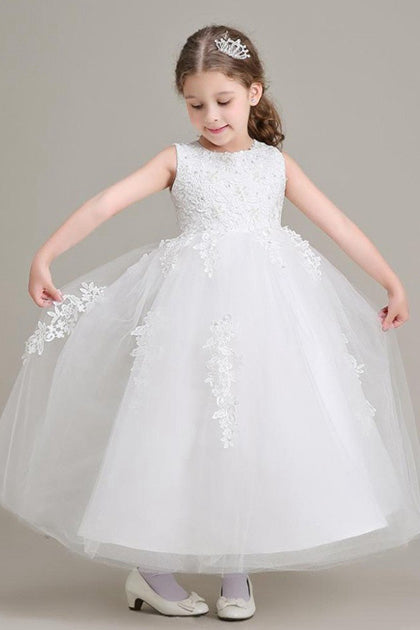 A-Line Sleeveless Lace Applique Beading Flower Girl Dresses