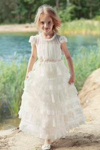 Lace Tiered Flower Girl Dresses with Cap Sleeves