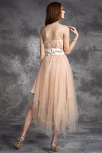 A-Line Strapless Tulle Prom Dresses with Sash