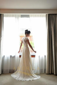 V-Neck Floor-Length Wedding Dresses with Lace Sleeves