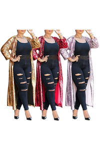 In Stock Women's Sequins Open Front Long Sleeve Club Cardigan for Evening Prom