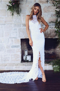 High Neck Sheath/Column Backless Lace Boho Wedding Dress with Long Train