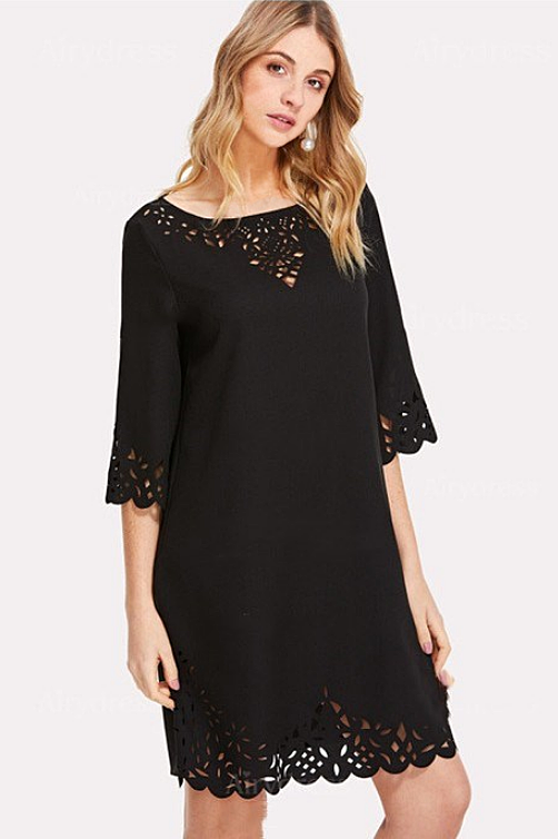 Lace Mid-sleeve Black T-shirt/Short Sheath Dress