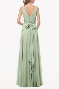 V-Neck Elegant Chiffon Long Bridesmaid Dress