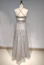 A Line Spaghetti Straps/Halter Shiny Dresses with Criss-cross Back