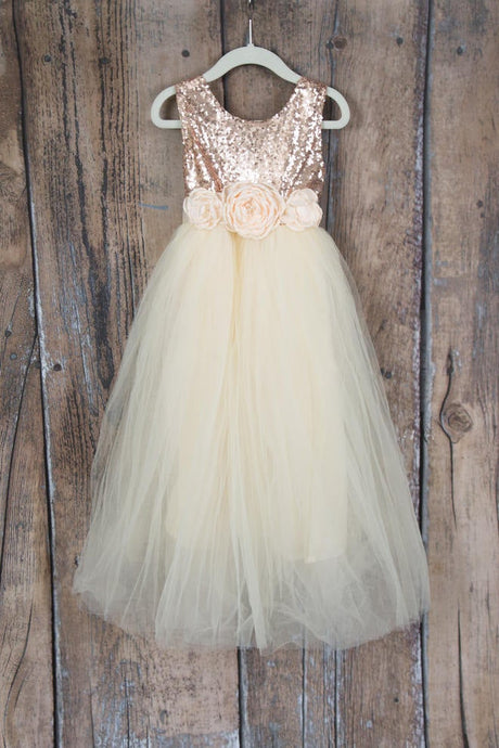 A Line Jewel Scoop Sleeveless Empire Princess Flower Girl Dress