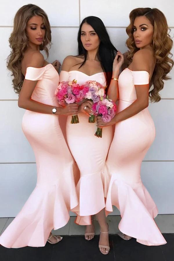 Mermaid Simple Off-the-Shoulder High Low Bridesmaid Prom Dress