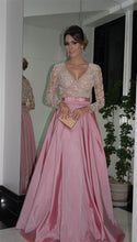 A-line/Princess Full/Long Sleeves V-neck Beading Long Taffeta Formal Prom Dresses with Pockets
