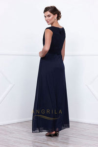 Dark Navy Sleeveless Mother of the Bride Dresses