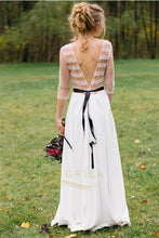 A-Line Bateau Chiffon Simple Wedding Dresses with 1/2 Sleeves