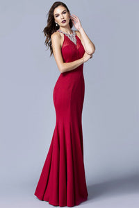 Trumpet/Mermaid Halter Sleeveless Beading Long Prom Dresses