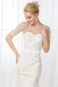 Sweetheart Trumpet Beading Wedding Dresses