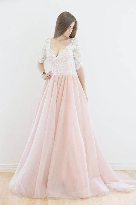 V-Neck Lace Bodice Long Prom Dresses with 1/2 Sleeves